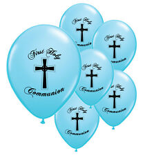 10 X 1ST / FIRST HOLY COMMUNION BLUE HELIUM QUALITY BALLOONS (BLACK PRINT)
