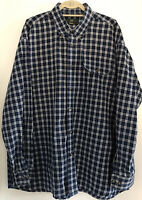 Mens Orvis Blue Plaid L/S Button Shirt Sz XL Heavy Cotton Oxford Collar Pocket