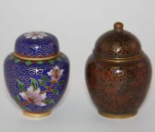 """Miniature Ginger Jars Gold Blue Enamel Cloisonne Pair 2"""" Tall with Lid Nice!"""