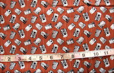 """100% Cotton Fabric """"A Stitch In Time"""" by Blank Textile, Reddish Brown w/Thimbles"""