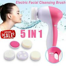 5 in1 Electric Facial Face Spa Cleansing Brush Beauty Cleanser Exfoliator Hot
