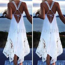 Women Summer Sleeveless Boho Club Party Beach Lace Sundress Plus Size Maxi Dress