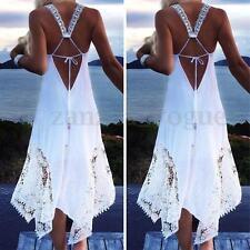 Women Summer Boho Lace Crochet Evening Beach Sundress Club Party Long Maxi Dress