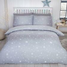 Starburst Brushed Cotton Double Duvet Cover Set Grey Cotton Boys Girls Bedtime