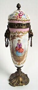 ANTIQUE French SEVRES Style PORCELAIN BRONZE ORMOLU URN VASE LID PAINTED SIGNED