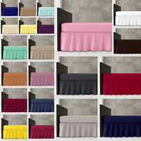 Luxury Platform Base Valance Poly Cotton Frilled Plain Dyed Bed Sheets Diamond
