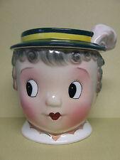 VHTF Vintage PY Gay 90 Lady (Grandma) w/Green Hat Cookie Jar (Japan)
