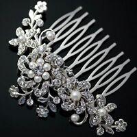 Woman Rhinestone Bridal Wedding Flower Pearls Headband Hair Clip Comb Jewelry