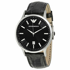 Emporio Armani AR2411 Classic Quartz Date Black Leather Mens Watch