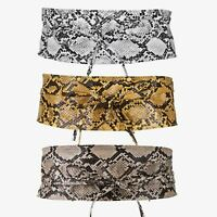 Womens Wide Waist Belt PU Leather Waistband Snake Snakeskin Print Party Band