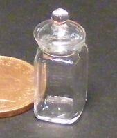 1:12 Escala Cuadrado Cristal Almacenamiento Tarro y Tapa Casa de Muñecas