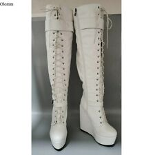 New Women Platform Knee High Boots Wedges Heels Round Toe White Shoes US Size 20