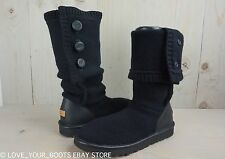 UGG CLASSIC CARDY BLACK CASHMERE LUXURY KNIT  WOMENS BOOTS US 8 NIB