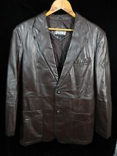 Vintage(?) Mens City Streets Brown Leather 2 Button Jacket Size 40 Made in Korea