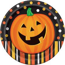 8 X Halloween Assiettes en Papier Citrouille Halloween Orange et Noir