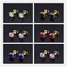 HUCHE Vintage Style 18K Yellow Gold Filled Stud Sapphire Gemstone Women Earrings