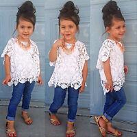 3Pcs Baby Girls Kids Clothes Tank Top + T-Shirt + Denim Pants Outfits Sets 1-9Y