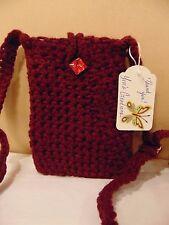 Handmade Crochet Cell Phone Case or Purse Burgundy & Lined With Felt Interior