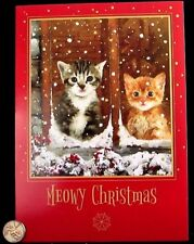 Beautiful Kitten Cats Snowy Window Adorable - Meowy Christmas Greeting Card New