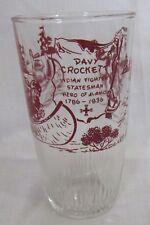 "DAVY CROCKETT Large Drinking Glass Tumbler HAZEL-ATLAS Alamo,""Indian Fighter""..."