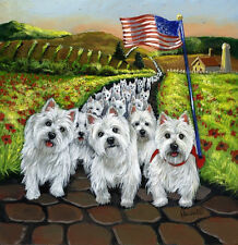 WESTIE WALK  GARDEN FLAG  FREE SHIP USA RESCUE