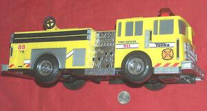 "2010 TONKA Hasbro #06627 Yellow 13"" Rescue 911 Fire Truck Lights Up Sirens Noise"