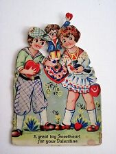 Vintage Antique Mechanical Valentine w/ Girl Holding Blue Bird & Boy w/Heart *