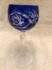 Bohemian Czech Blue Pinwheel Cut to Clear Crystal Wine Glass goblet 4.5""