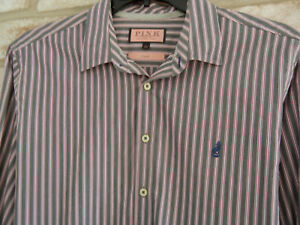 THOMAS PINK mens L Casual Long Sleeve grey/red Stripe cotton Spread Collar SHIRT
