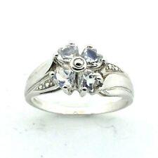 mujer, 9ct / 9ct Oro Blanco Juego de anillos con piedras circonita, Talla RU N