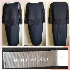 BEAUTIFUL MINT VELVET CLASSIC BLACK DRESS LACE OCCASION UK 14 VGC
