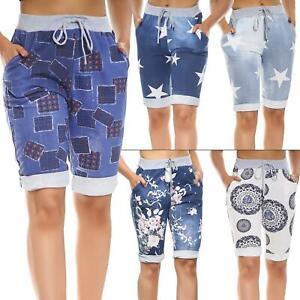 Ladies Womens Stretch Denim Knee Length Shorts Printed 3/4 Long Trousers Pants