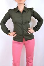 CK Calvin Klein Jeans Ladies Military Green Stretch Fit  SHIRT Top Blouse S / M