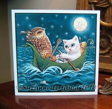 Owl and Pussycat painting art Birthday card original design by Suzanne Le Good