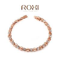 18K Rose Gold Plated Women's Genuine Austrian Crystal Bracelet Bangle Women New