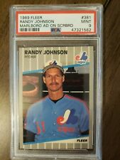 1989 Fleer #381 RANDY JOHNSON Marlboro Ad On Scoreboard PSA 9 Mint HOF RC