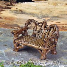 NUOVO Mini Fata Panca da giardino/giardino in miniatura/Fiddlehead Ramoscello Panca/rustico