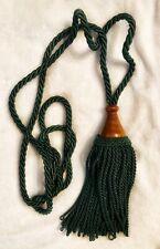 "Vintage Green 9"" Tassel Wood Trim and Rope Drapery Curtain Tie Back"