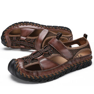 Genuine Leather Mens Sandals Summer Outdoor Casual Beach Roman Garden Slippers