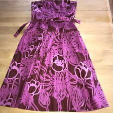 Marimekko Purple Pink Strapless Cotton Sun Dress 6 Elastic Back Dropped Waist