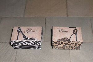 TWO HAND-MADE DOLLS' HOUSE 1/12TH SCALE PATTERNED SHOE BOXES