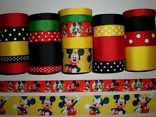 "23 YDS GROSGRAIN RIBBON MIXED LOT CARTOONS ""MICKEY MOUSE CLUB HOUSE"" PRINTED X32"