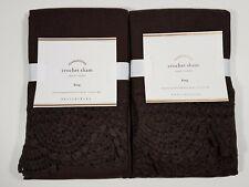 Pottery Barn Crochet King Shams ~ Set of 2 ~ Espresso Brown Linen ~ NEW