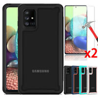 For Samsung Galaxy A71 4G 5G Case, Dual Layers Cover + Tempered Glass Protector