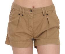 PLEIN SUD JEANIUS Shorts Brown Mid Waist 100% Cotton Mini IT36/US2/XS
