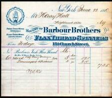 1880 New York - Barbour Brothers - Flax Thread Spinners - Letter Head History