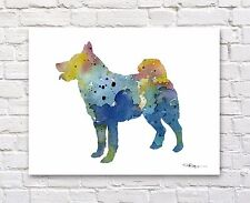 Norwegian Elkhound Abstract Watercolor Painting Art Print by Artist Dj Rogers