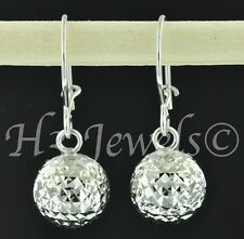 18k dangling white gold hoop earring earrings diamond cut ball  2.10 grams #302