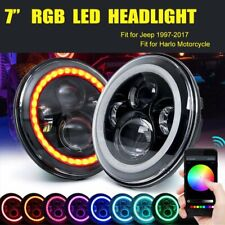 2pcs 7'' Headlight LED RGB Halo Projector Angel DRL for Jeep Wrangler JK TJ LJ