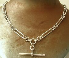 SOLID 925 STERLING SILVER ALBERT CHAIN NECKLACE with T BAR and SWIVEL CLASP